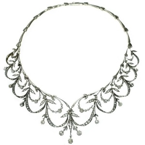 Antique Victorian rose cut diamond necklace former tiara truly real neck lace